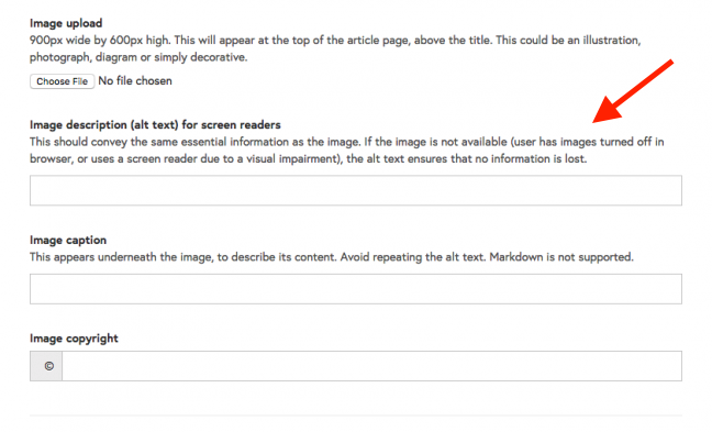 The alt-text field below the image uploader in Course Creator. It's above the Image caption field and Image copyright field.